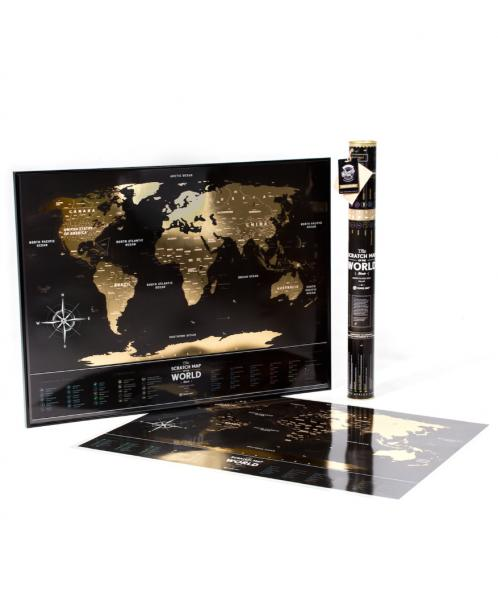 Stírací mapa světa Travel Map The World Black