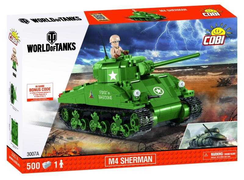 Cobi 3007 World of Tanks M4 Sherman 500 k, 1 f [STAVEBNICE]